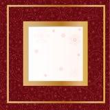 Cartão vermelho com flocos de neve ilustração stock