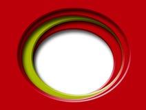 Cartão vermelho com furos redondos, e detalhe verde Fotos de Stock Royalty Free