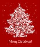 Cartão vermelho da árvore de Natal Fotografia de Stock Royalty Free
