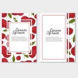 Cartão vermelho da cereja, quadro Molde do vetor do vintage para o projeto Papel de parede do fundo Fotografia de Stock Royalty Free