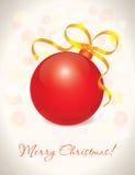 Cartão vermelho da esfera do Natal Foto de Stock