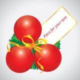 Cartão vermelho da esfera do Natal Imagem de Stock