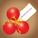 Cartão vermelho da esfera do Natal Fotos de Stock Royalty Free