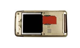 Cartão vermelho de SIM no telefone Fotografia de Stock Royalty Free
