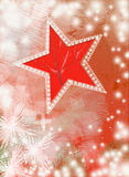 Cartão vermelho do ano novo do vintage com estrela e flocos de neve Foto de Stock Royalty Free