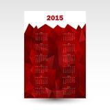 Cartão vermelho 2015 do calendário de parede Imagens de Stock