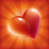 Cartão vermelho do coração para o dia do Valentim Imagens de Stock Royalty Free