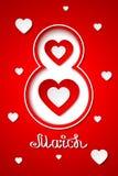 Cartão vermelho do dia das mulheres internacionais vetor do 8 de março elegante imagem de stock royalty free