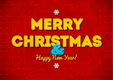 Cartão vermelho do Feliz Natal do vintage com rotulação Foto de Stock