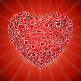 Cartão vermelho do insecto do Valentim com coração floral do redemoinho ilustração do vetor