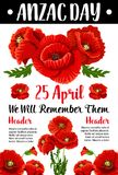 Cartão vermelho do memorial de guerra do vetor da papoila de Anzac Day Imagem de Stock Royalty Free