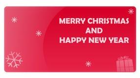 Cartão vermelho do presente do ano novo do Natal Foto de Stock Royalty Free