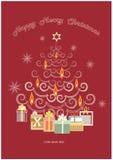 Cartão vermelho do xmas Fotos de Stock