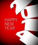 Cartão vermelho e branco do vetor do ano novo feliz 2014 Fotografia de Stock Royalty Free