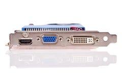 Cartão video com os conectores de HDMI, de VGA e de DVI fotografia de stock