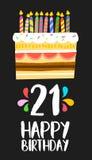 Cartão 21 vinte do bolo do feliz aniversario um partido do ano ilustração stock