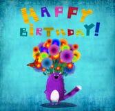 Cartão Violet Cat With Flowers do feliz aniversario Imagens de Stock Royalty Free