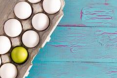 Cartón de huevos de los huevos de Pascua blancos con un verde uno Fotos de archivo