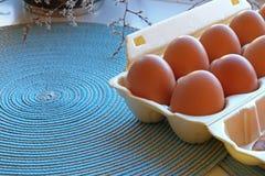 Cartón de huevos del frech en primer foto de archivo libre de regalías