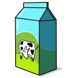 Cartón de la leche con la ilustración de la vaca Imagenes de archivo