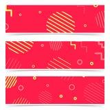 Cartões abstratos cor-de-rosa brilhantes com coleção retro dos elementos Fotografia de Stock