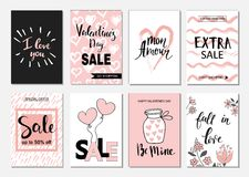 Cartões ajustados da venda do dia de Valentim A caligrafia, a rotulação e a mão tiradas projetam elementos Fotografia de Stock