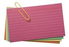Cartões alinhados coloridos Fotografia de Stock Royalty Free