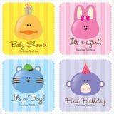 Cartões Assorted do bebê ilustração royalty free