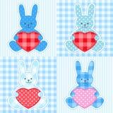 Cartões azuis dos coelhos Fotos de Stock