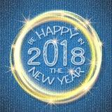 2018, cartões azuis e brancos com Feliz Natal text e quadro do brilho do ouro Fundo efervescente do feriado, poeira do vetor ilustração royalty free