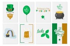 Cartões, bandeiras, fundos, cartazes com símbolos do dia de St Patrick s Grupo do vetor Feriado irlandês nacional ilustração do vetor