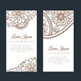 Cartões bonitos com floral e o paisley Imagem de Stock