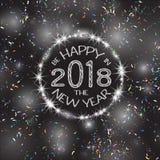 2018, cartões brancos e pretos com Feliz Natal text e quadro do brilho do ouro Fundo efervescente do feriado, poeira do vetor ilustração do vetor