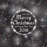 2018, cartões brancos e pretos com Feliz Natal text e quadro do brilho do ouro Fundo efervescente do feriado, poeira do vetor ilustração stock