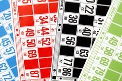 Cartões coloridos para o bingo do pagamento Fotografia de Stock Royalty Free
