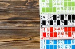 Cartões coloridos para o bingo do pagamento Fotografia de Stock