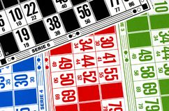 Cartões coloridos para o bingo do pagamento Fotos de Stock Royalty Free