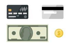 Cartões com ícones lisos dos dólares Imagens de Stock Royalty Free
