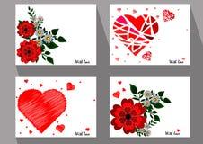Cartões com as flores e as camomilas vermelhas abstratas no ethni Fotos de Stock Royalty Free