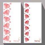 Cartões com corações abstratos no estilo étnico para o declarat Fotografia de Stock