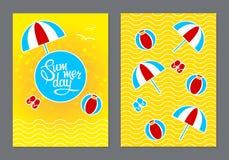 Cartões com dia de verão da rotulação Imagens de Stock