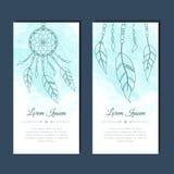 Cartões com dreamcatcher e penas Foto de Stock Royalty Free