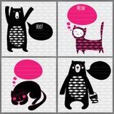 4 cartões com gatos e ursos Imagens de Stock Royalty Free