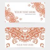 Cartões com Henna Patterns intrincada Fotos de Stock Royalty Free