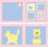 Cartões com a imagem dos gatos Foto de Stock