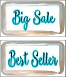Cartões com o melhor vendedor das inscrição e Salé grande do l ilustração stock