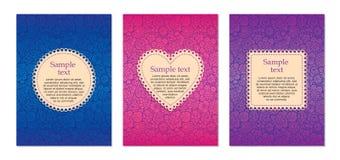 Cartões com ornamento floral ilustração royalty free