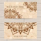 Cartões com teste padrão da hena Fotografia de Stock