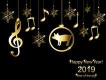 Cartões com um ano novo do porco ilustração royalty free