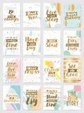 Cartões criativos com fundos geométricos abstratos Fotos de Stock